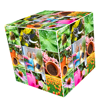 Gardening. Cube collage. Isolated over white background